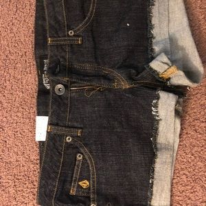 Volcom black jean shorts